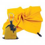 Spokey NEMO Rychleschnoucí ručník 40x40 cm, žlutý s karabinou - VÝPRODEJ