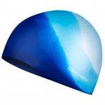 Spokey Abstract plavecká čepice silikonová modrá s bílým v zadu - VÝPRODEJ