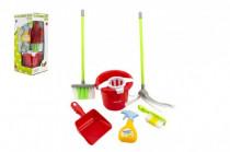 Sada uklízečka kbelík+smeták+lopatka+mop plast