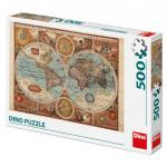 Puzzle 500 dílků Mapa světa z r.1626