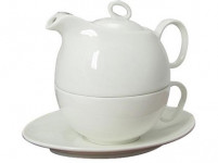 konvička + šálek a podšálek porcelán BÍ TEA FOR ONE