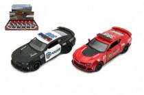 Auto Kinsmart Chevrolet Camaro policie/hasiči 12cm kov na zpětné natažení - mix barev