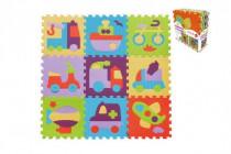 Pěnové puzzle dopravní prostředky mix barev 9ks - mix variant či barev