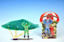 Parašutista voják plast 11cm s padákem - mix variant či barev - VÝPRODEJ