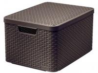 box úložný RATTAN 44,5x33x25cm (L) s víkem, STYLE2, plastový, HN - VÝPRODEJ