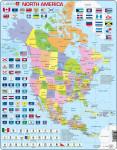 Puzzle Mapa Severní Ameriky + vlajky 85 dílků - VÝPRODEJ