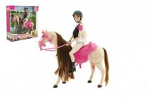 Kůň česací hýbající se + panenka žokejka Anlily plast - VÝPRODEJ