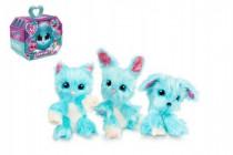 Zvířátko FUR BALLS plyš Touláček pejsek/kočka/králík modrý s doplňky